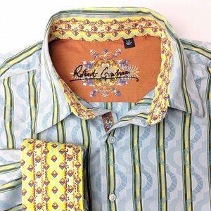 Robert Graham, blue striped button up shirt, large